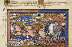 PHILISTINES VICTORY. An Old Testament Battle Scene depicting the combatants as