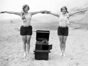 PHONOGRAPH, c1929. Joan Crawford and Dorothy Sebastian photographed c1929 with a