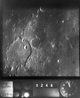 Photograph taken by the spacecraft Ranger 7 before it impacted the moon on 31 July 1964.