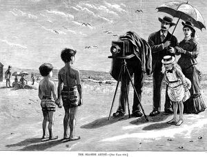PHOTOGRAPHY, 1877. 'The Seaside Artist.' Wood engraving, American, 1877.