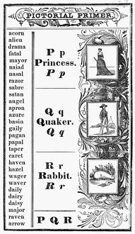 PICTORIAL PRIMER, c1845. Pages from an American primer