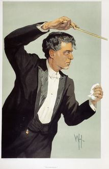 PIETRO MASCAGNI (1863-1945). Italian composer. Caricature lithograph, English, 1900-1910.