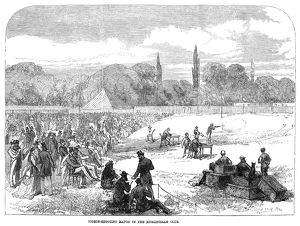 PIGEON-SHOOTING, 1869. Pigeon-shooting match at the Hurlingham Club in London, England