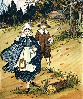PILGRIM SCHOOLCHILDREN with their hornbooks. Pen-and-ink drawing by L. Kate Deal