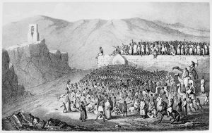 PILGRIMAGE TO MECCA. Stoning the Devil. Muslim pilgrims throwing pebbles at walls