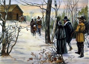 PILGRIMS: CHURCH. Pilgrims going to Church. American lithograph, 19th century.