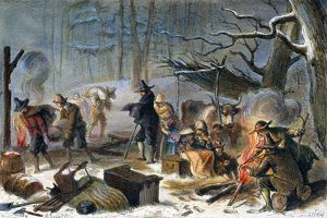 PILGRIMS: FIRST WINTER, 1620. The first winter of the Pilgrims in Massachusetts, 1620