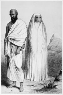 PILGRIMS TO MECCA, c1855. Male and female pilgrims on their way to Mecca wearing