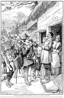 PILGRIMS: THANKSGIVING, 1621. After the first harvest of the colonists at Plymouth