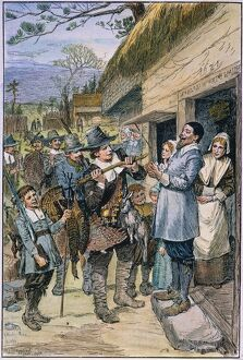 PILGRIMS: THANKSGIVING, 1621. 'After the first harvest of the colonists at Plymouth