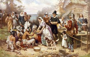 PILGRIMS: THANKSGIVING, 1621. The First Thanksgiving of the Pilgrims, 1621