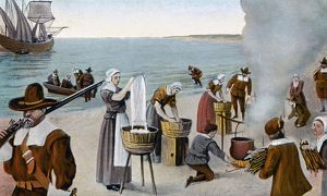 PILGRIMS WASHING DAY, 1620. The pilgrims' first washing day, Monday, 23rd November