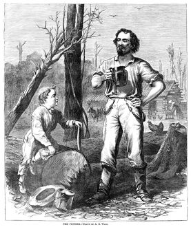 THE PIONEER, 1868. 'The Pioneer.' Wood engraving after a drawing by Alfred R. Waud