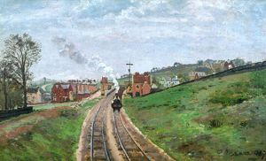 PISSARRO: STATION, 1871. Camille Pissarro: Lordship Lane Station, South London ('Penge