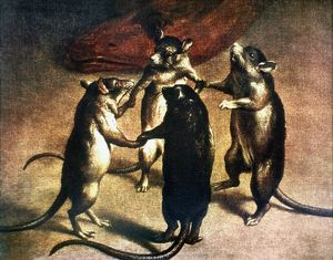 PLAGUE: DANCE OF THE RATS. Rats dancing at the time of the plague. Oil on canvas, c1800.