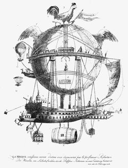 Plan of a flying machine. Line engraving, 18th century.