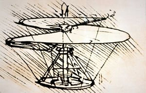 Plan for a flying machine, similar to a present-day helicopter.
