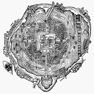 Plan of Tenochtitlan (site of modern Mexico City) at the time of the Spanish Conquest