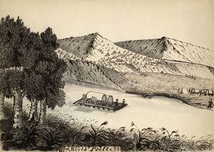 PLATTE RIVER, 1859. Covered wagons being ferried down the Platte River in Wyoming