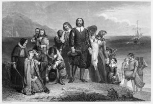 PLYMOUTH ROCK: LANDING. The Landing of the Pilgrims at Plymouth Rock in December 1620