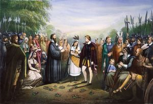POCAHONTAS & JOHN ROLFE. The marriage of Pocahontas and John Rolfe at Jamestown, Virginia