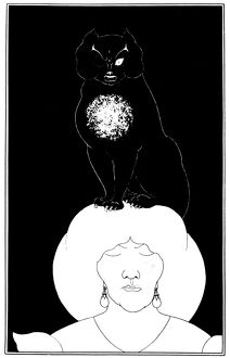 cats/poe black cat 1894 lithograph aubrey beardsley