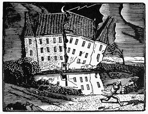 POE: HOUSE OF USHER. Woodcut by Constant le Breton for a 20th century edition of