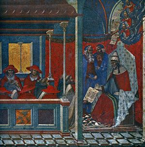POPE HONORIUS III (d. 1227). Pope, 1216-27. Honorius III approving the Carmelite Order