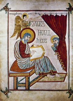 PORTRAIT OF SAINT MATTHEW. Book of Lindisfarne Gospels