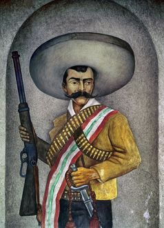 PORTRAIT OF A ZAPATISTA. Painting by an unknown Mexican artist, 20th century.