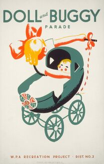Poster advertising a doll and buggy parade in Chicago, Illinois. Silkscreen, 1939.