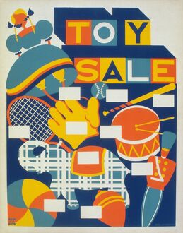 Poster advertising a toy sale. Silkscreen, c1940.