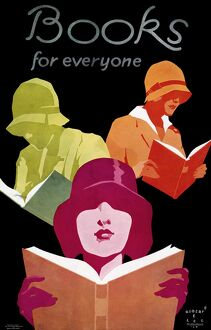 POSTER: BOOKS, 1929. 'Books for everyone.' Lithograph by Robert E. Lee, 1929