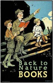 POSTER: BOOKS, c1925. 'Back to nature books.' Lithograph by M. Norstad, c1925