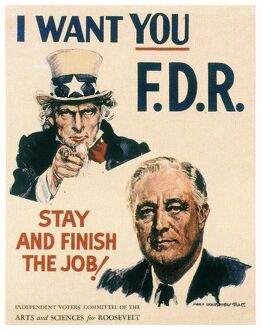 Poster by James Montgomery Flagg from the 1940 presidential campaign, supporting