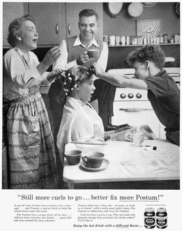 POSTUM ADVERTISEMENT, 1957. 'Still more curls to go... better fix more Postum
