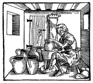 POTTER, 1537. Woodcut from a German translation of Polydore Vergil's 'De