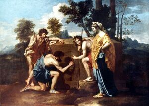 POUSSIN: SHEPHERDS. 'The Shepherds of Arcadie.' Canvas, 1629, by Nicolas Poussin