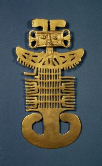 PRE-COLUMBIAN ART. Open-work plaque. Gold. From Tolima, Columbia.