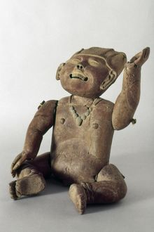 Pre-Columbian clay sculpture of a child with movable limbs and head, from Tierra Blanca