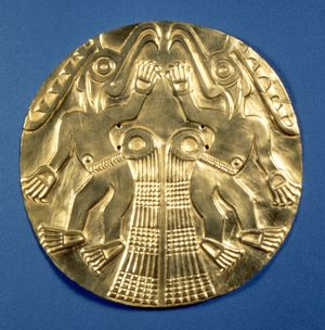 PRE-COLUMBIAN GOLD, 1000 AD. Gold plaque with repousee decoration, from Panama, c1000 A.D.