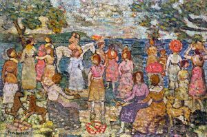 PRENDERGAST: BEACH, 1916. 'On the Beach.' Oil on canvas by Maurice Brazil Prendergast