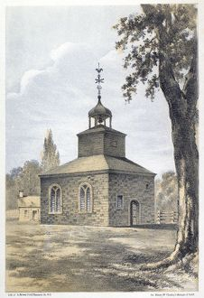 Presbyterian Church at Jamaica, New York, used as a prison by the British during August 1776. Lithograph, 1867.