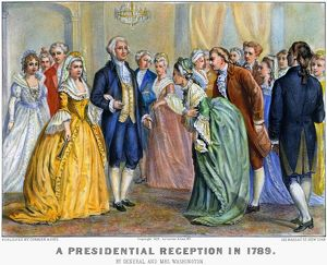President and Mrs. Washington at a presidential reception in 1789