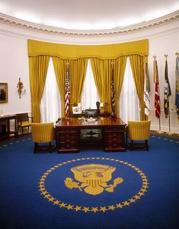 President Richard Nixon's desk in the Oval Office at the White House. Photograph