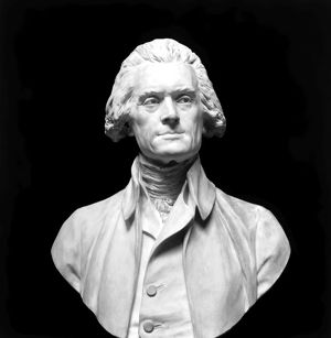 Third President of the United States. Marble bust by Jean Antoine Houdon (1741-1828).