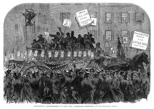 presidents/presidential campaign 1864 crowd campaigning
