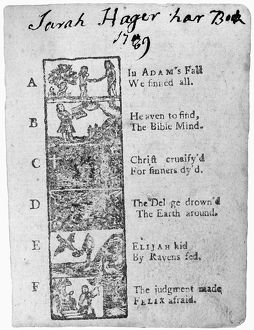 PRIMER, 18th CENTURY. Page from an 18th century primer using biblical terms to