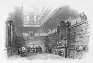 PRIVATE LIBRARY, c1850. The library at the residence of Edward Everett (1794-1865)