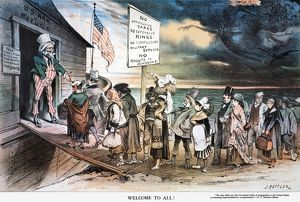 PRO-IMMIGRATION CARTOON. 'Welcome to All!' An 1880 American cartoon by Joseph